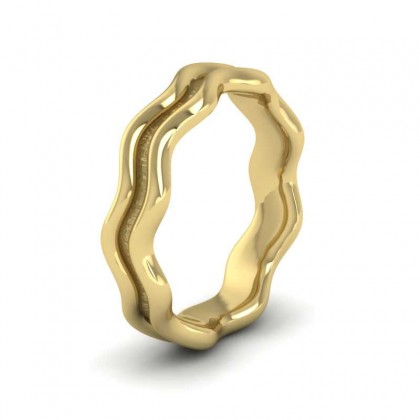 Double Wave 9ct Yellow Gold 4mm Wedding Ring