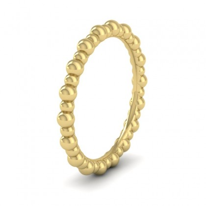 Bobbly 9ct Yellow Gold 2mm Wedding Ring