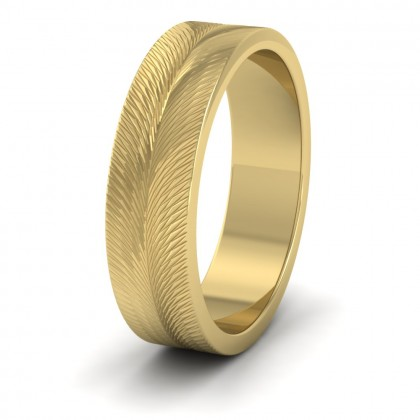 Feather Pattern 22ct Yellow Gold 6mm Wedding Ring