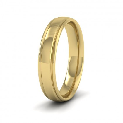 Edge Line Patterned 14ct Yellow Gold 4mm Wedding Ring