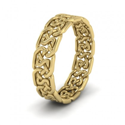 Open Celtic Patterned 14ct Yellow Gold 6mm Wedding Ring