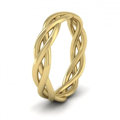 Triple Weave 9ct Yellow Gold 4mm Wedding Ring