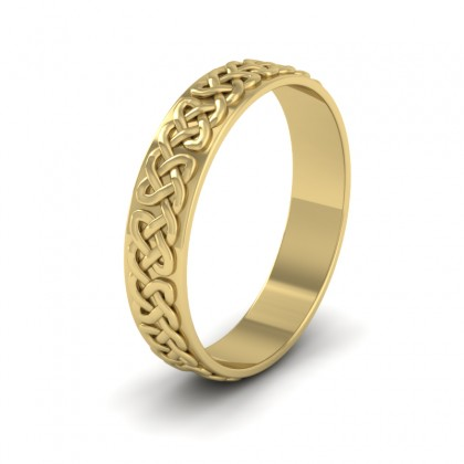 Celtic Patterned Flat 9ct Yellow Gold 4mm Wedding Ring