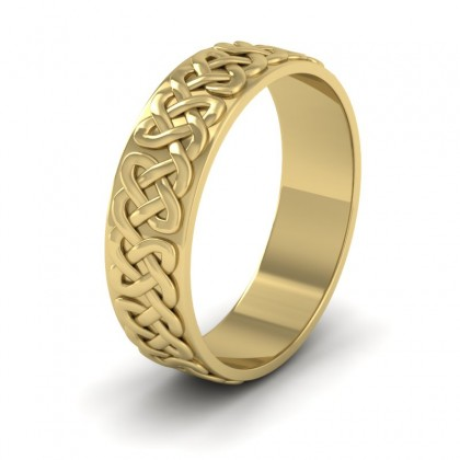 Celtic Patterned Flat 9ct Yellow Gold 6mm Wedding Ring