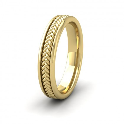 Braided Pattern 14ct Yellow Gold 4mm Wedding Ring