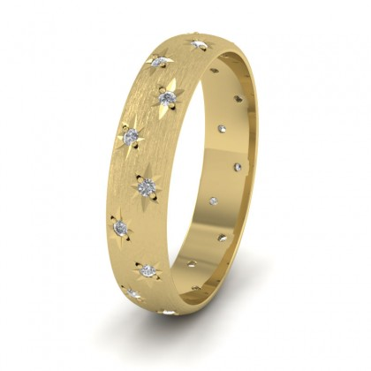 Star And Diamond Set 14ct Yellow Gold 4mm Wedding Ring