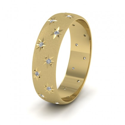Star And Diamond Set 14ct Yellow Gold 6mm Wedding Ring