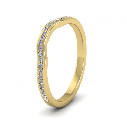 Shaped Diamond Set Pave 9ct Yellow Gold 2mm Wedding Ring