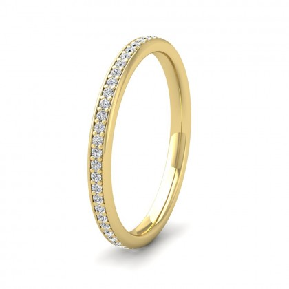 Diamond Set Pave 9ct Yellow Gold 2mm Wedding Ring