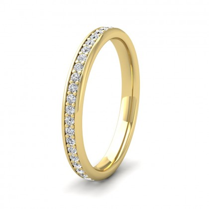 Full Bead Set 0.46ct Round Brilliant Cut Diamond 9ct Yellow Gold 2.5mm Ring