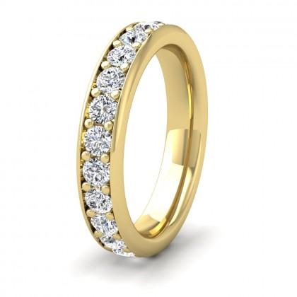 Full Bead Set 1.56ct Round Brilliant Cut Diamond 18ct Yellow Gold 4mm Ring