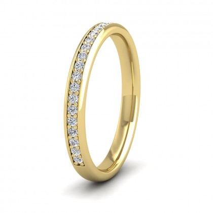 Half Bead Set 0.23ct Round Brilliant Cut Diamond 9ct Yellow Gold 2.5mm Ring