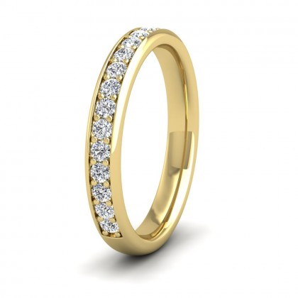 Half Bead Set 0.34ct Round Brilliant Cut Diamond 9ct Yellow Gold 3mm Ring