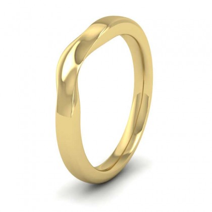 Shaped And Dipped 9ct Yellow Gold 2.5mm Wedding Ring