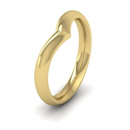 Wishbone Shaped 18ct Yellow Gold 3mm Wedding Ring
