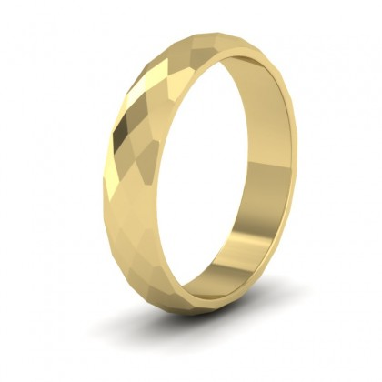 Facetted Harlequin Design 9ct Yellow Gold 4mm Wedding Ring