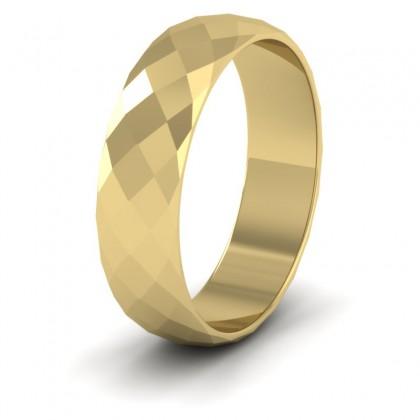Facetted Harlequin Design 9ct Yellow Gold 6mm Wedding Ring