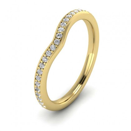 Wishbone Shape Diamond Set Pave 14ct Yellow Gold 2mm Wedding Ring