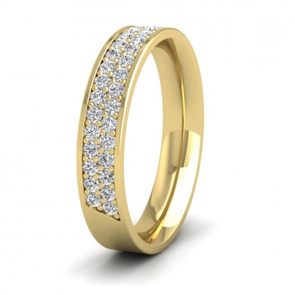 Two Row 0.5ct Half Diamond Set Pave 9ct Yellow Gold 4mm Ring