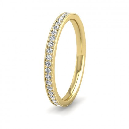 Full Bead Set 0.46ct Round Brilliant Cut Diamond With Millgrain Surround 9ct Yellow Gold 2mm Ring