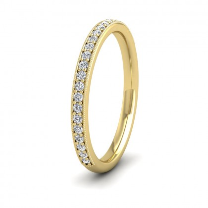 Half Bead Set 0.23ct Round Brilliant Cut Diamond With Millgrain Surround 9ct Yellow Gold 2mm Ring