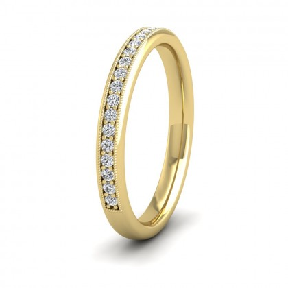 Half Bead Set 0.34ct Round Brilliant Cut Diamond With Millgrain Surround 9ct Yellow Gold 2.5mm Ring