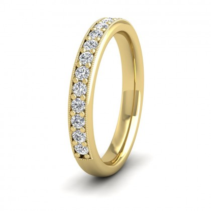 Half Bead Set 0.4ct Round Brilliant Cut Diamond With Millgrain Surround 9ct Yellow Gold 3mm Ring