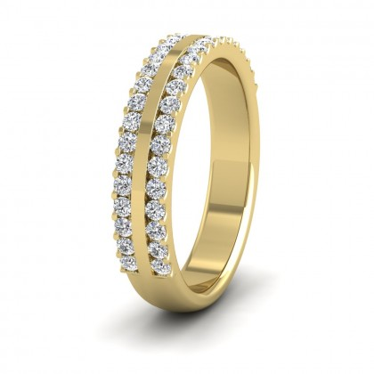 Double Edge Half Claw Set Diamond Ring (0.5ct) In 9ct Yellow Gold