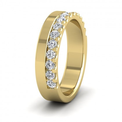 Assymetric Half Claw Set Diamond Ring (0.49ct) In 9ct Yellow Gold
