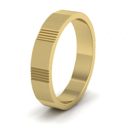 Across Groove Pattern 9ct Yellow Gold 4mm Flat Wedding Ring
