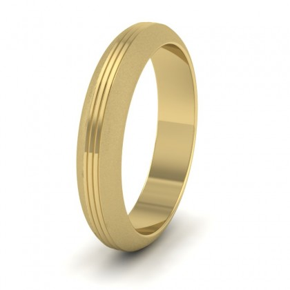 Grooved Pattern 9ct Yellow Gold 4mm Wedding Ring