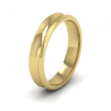 Concave 9ct Yellow Gold 4mm Wedding Ring