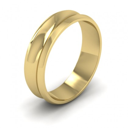Concave 9ct Yellow Gold 6mm Wedding Ring