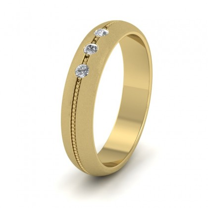 Three Diamond And Centre Millgrain Pattern 18ct Yellow Gold 4mm Wedding Ring