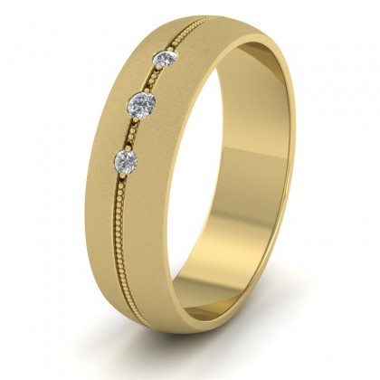 Three Diamond And Centre Millgrain Pattern 9ct Yellow Gold 6mm Wedding Ring