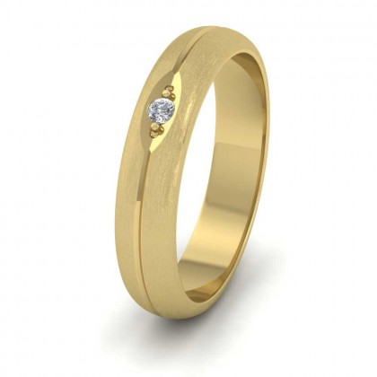Diamond Set And Centre Line Pattern 14ct Yellow Gold 4mm Wedding Ring