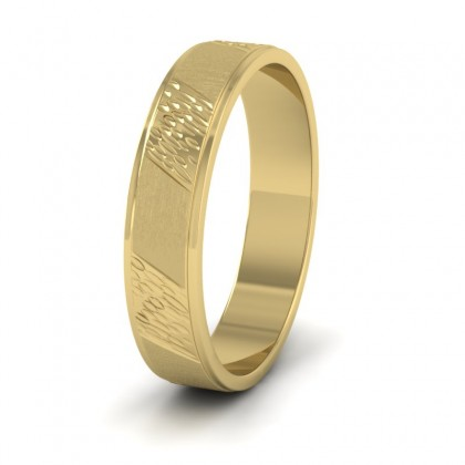 Diagonal Matt And Patterned 14ct Yellow Gold 4mm Wedding Ring