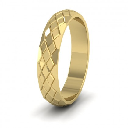 Facet And Line Harlequin Design 9ct Yellow Gold 4mm Wedding Ring