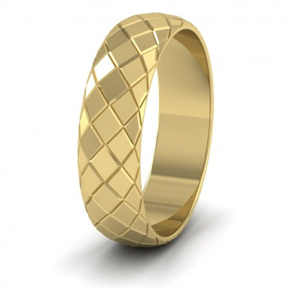 Facet And Line Harlequin Design 9ct Yellow Gold 6mm Wedding Ring