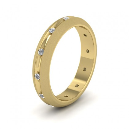 Wedding Ring With Concave Groove Set With Twelve Diamonds 4mm Wide In 9ct Yellow Gold