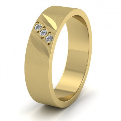 Diagonal Cut And Diamond Set 9ct Yellow Gold 6mm Flat Wedding Ring