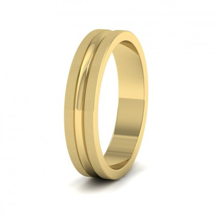 Bullnose Groove Pattern Flat 14ct Yellow Gold 4mm Flat Wedding Ring