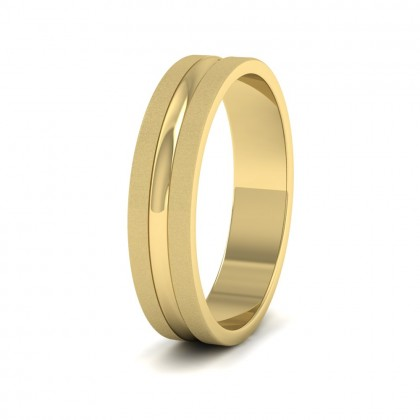Bullnose Groove Pattern Flat 9ct Yellow Gold 5mm Flat Wedding Ring