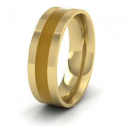 Gold Enamelled 18ct Yellow Gold 7mm Wedding Ring