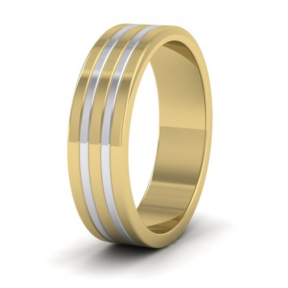 Five Band Two Colour 9ct Yellow And White Gold 6mm Wedding Ring