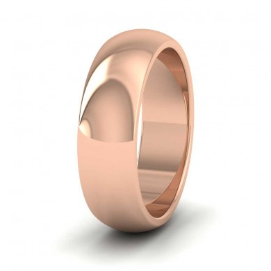 18ct Rose Gold 6mm 'D' Shape Super Heavy Weight Wedding Ring