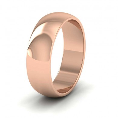 18ct Rose Gold 6mm 'D' Shape Extra Heavy Weight Wedding Ring