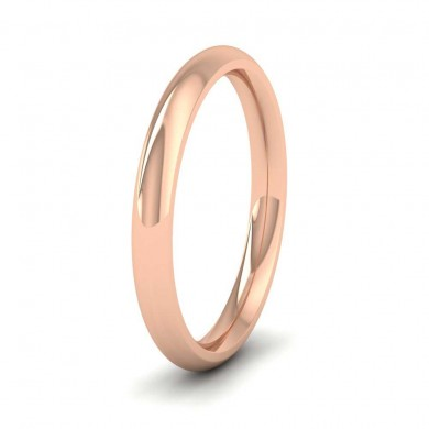 18ct Rose Gold 2.5mm Court Shape (Comfort Fit) Super Heavy Weight Wedding Ring
