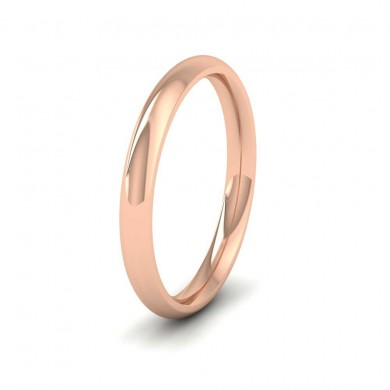18ct Rose Gold 2.5mm Court Shape (Comfort Fit) Extra Heavy Weight Wedding Ring
