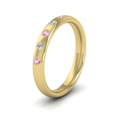 18ct Yellow Gold 3mm Court Shape Five Stone Pink Sapphire Diamond Wedding Ring